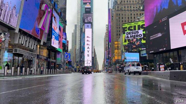 empty streets of new york city under coronavirus